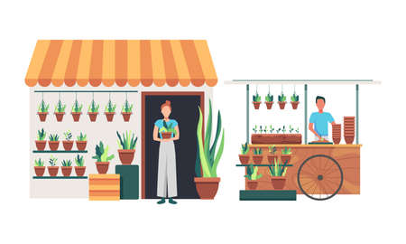 Flowers and plants florist shop interior. Floral shop and plants store for home garden green decoration. Man and Woman gardener and shop owner with plants. Vector in flat style Ilustração