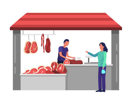 Women shop at local markets, butchers cut meat for buyers, Meat market worker. Fresh meat and meat products with ham, beef and sausages. Vector illustration in a flat style