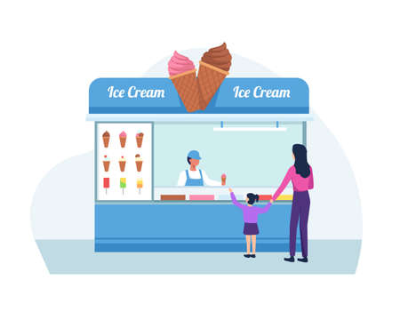 Ice cream seller, Mother and daughter buy ice cream. Shop owner holding the ice cream. Vector in a flat style