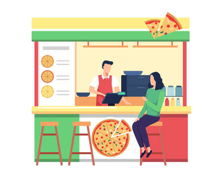 Pizza street market food vector illustration, Shop owner serve customer. Young woman buy pizza, Happy man seller takeaway pizza fast food to people. Vector in a flat style