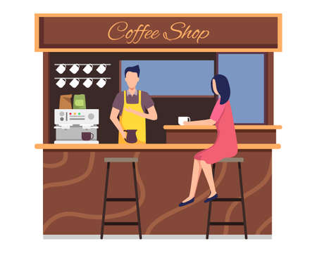 Small business and self-employment concept, Barista makes coffee. Drinking coffee and talking. Illustration of Coffee shop owner, People in cozy cafe. Vector in flat styleCoffee shop vector concept. Small business and self-employment concept, Barista makes coffee. Drinking coffee and talking. Illustration of Coffee shop owner, People in cozy cafe. Vector in flat style