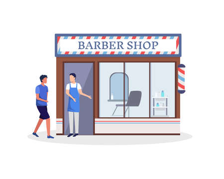 Barber stand in front of a haircut shop. Small business and self-employment concept with a man standing at the entrance to his barber shop. Vector in a flat style Иллюстрация