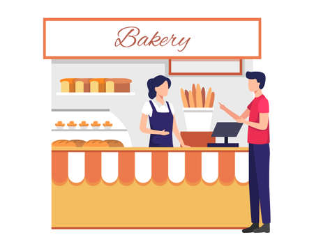 Small business and self-employment concept with female shopkeeper serve customer. Female cashier with buyer, Different bread, Cakes in the window. Vector illustration flat style