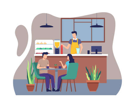 People sitting at table, Barista standing at counter. Young people dining in Coffeehouse, Couple have dinner together at a cafe. Vector illustration in a flat style