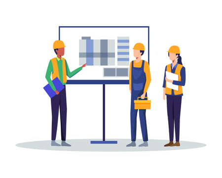 Architecture team presentation project on meeting. Architect showing drawing building on board to Business people engineers group. Vector illustration in a flat style Иллюстрация