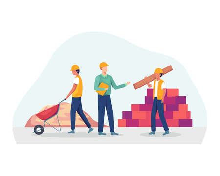 Professional contractors and engineers working on architecture project. Worker carrying wooden plank, mortar, Foremen and construction worker concept. Vector flat style Ilustração
