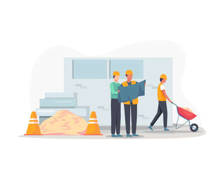 Construction worker holding blueprint, Architects discuss a project. Construction of buildings according to drawings, Contractor and engineer character. Vector in flat style Ilustração