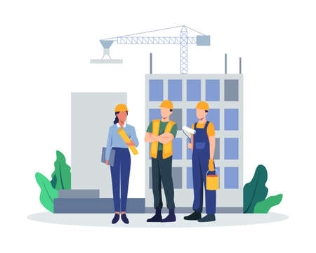 Contractors working on architecture project. Colleagues in uniform and hard hats. Man and woman industry or construction employees. Vector in flat style