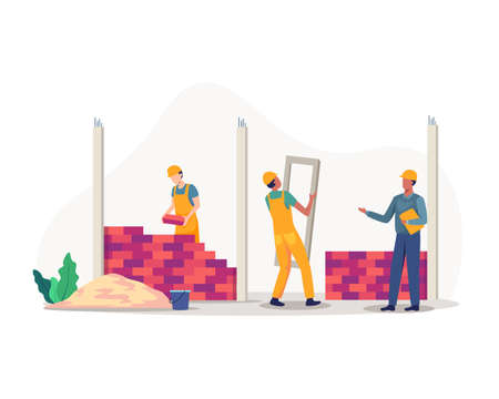 Team of professional builders constructing residential house. Building process, Private brick dwelling. Construction worker carrying glass and Foremen. Vector in flat style