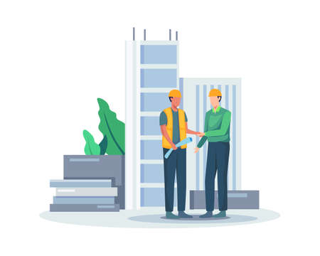 Builders team shaking hands, Negotiation deal agreement project. Construction project manager shaking hands after approved deal project. Vector in flat style