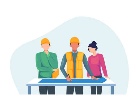 Construction worker holding blueprint, Architects discuss a project. Construction of buildings according to drawings, Contractor and engineer character. Vector in flat style Иллюстрация