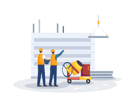 Construction worker holding blueprint, Architects discuss a project. Erection of buildings, Contractor and engineer character. Vector illustration in a flat style Ilustração