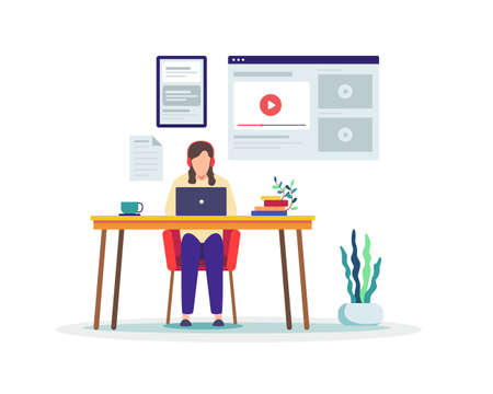 Woman sitting at desk, Working on test. Student watching online courses, Distance education, E-learning, Online training. Learning online at home. Vector in flat style Ilustração