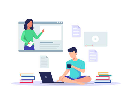 Man looking at laptop and studying with mentor explain in online class. Online course, Video lesson, E-learning concept. Distance learning. Vector in a flat style Ilustração
