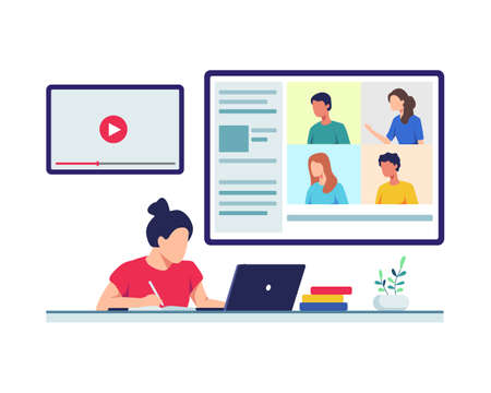 Young female student sitting with laptop take online class from home. Video call, Web conference with colleagues and friends, Online group meeting. Vector in a flat style Ilustração