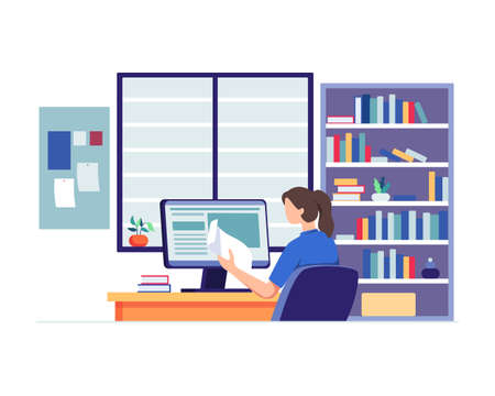 Young woman sitting at desk, Looking at computer and studying with book. Woman with school homework, Reading a test, Online education concept. Vector in flat style