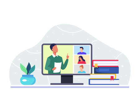 Male teacher teaching his college students via video call app on computer. Virtual class teleconference, Remote education, Learning from home. Vector in a flat style