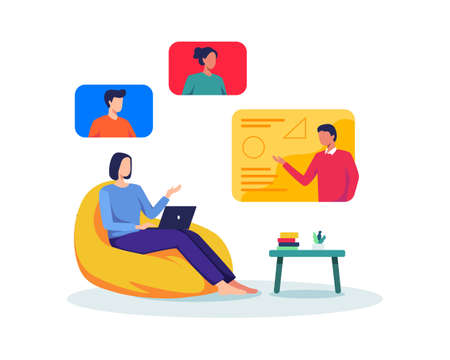 Young female student sitting with laptop take online class from home. Video call, Web conference with colleagues and friends, Online group meeting. Vector in a flat style Иллюстрация
