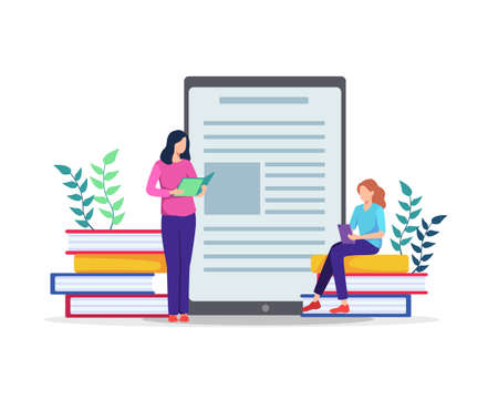 People sitting on large books, Working on test, Writing, Reading books. E-learning concept, Watching online courses on tablet, Training, Studying at home. Vector in flat style Ilustração