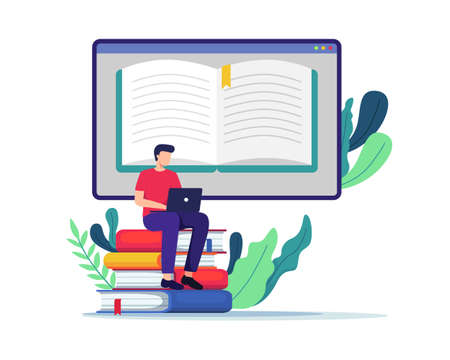 Young man sitting on large books, Working on test, Writing, Reading books. Student watching online courses, E-learning, Online training, Studying at home. Vector in flat style Ilustração