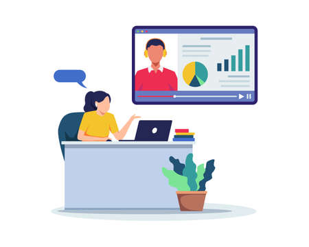 Woman sitting at desk, Looking at laptop and studying with online course. Video lesson, E-learning concept. Distance learning or Online test. Vector in a flat style Ilustração