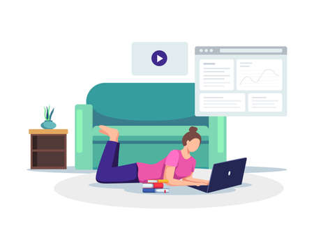 Young female student with laptop take online class from home. Student watching online courses, Working on test, E-learning, Online training. Vector in a flat style Иллюстрация