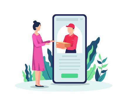 Women shopping online, Receiving shopping package from courier. Courier deliver package to customer, Male courier with package on the smart phone screen. Vector in flat style