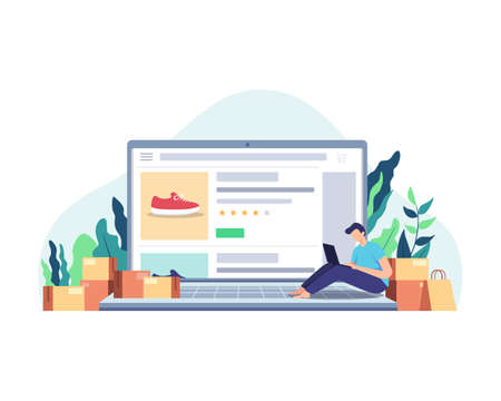 Man sitting on the laptop, Shopping online at home using laptop. Customer selects the goods to order, Boy with laptop next to paper bags and packages. Vector in flat style Ilustração