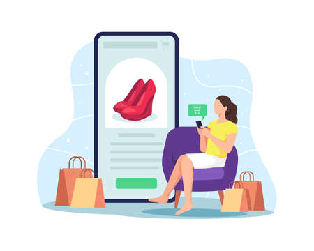 Woman sitting on the couch, Shopping online at home using mobile phone. Customer selects the goods to order, Girl with smartphone next to paper bags. Vector flat style