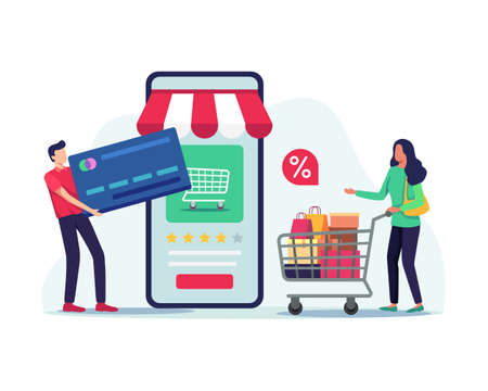 Woman with cart, Young man carrying a large credit card. Shopping and payments by mobile, People doing online transactions. Vector illustration in a flat style Иллюстрация
