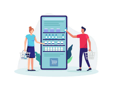 People shopping online with holding basket, Online groceries store concept. Mobile app shopping and e-commerce concept, Buying goods. Vector illustration flat style
