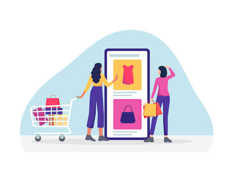 Customer selects the goods to order, People buy dresses, bag and shoes. Shopping online using mobile phone. Large smartphone, cart and paper bags, Vector in flat style