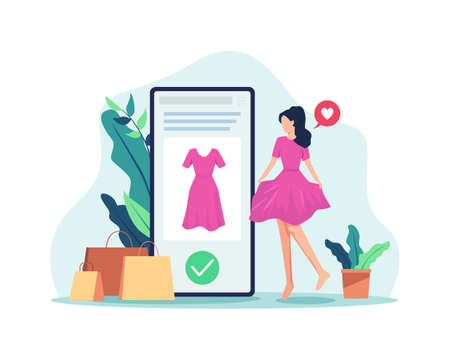 Women wearing clothes, Satisfied and happy with the online shopping experience. Shop online with mobile phone, Review the product purchased. Vector in a flat style Иллюстрация