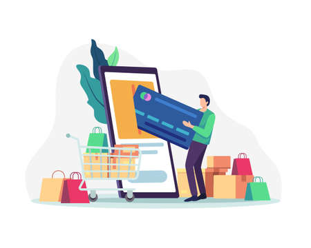 Young man carrying a large credit card, Online shopping with smartphone. Shopping and payments by mobile, Online transactions. Vector illustration in a flat style
