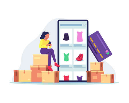 Woman sitting on the package, Shopping online using mobile phone. Customer selects the goods to order, Girl with smartphone and credit card. Vector in a flat style