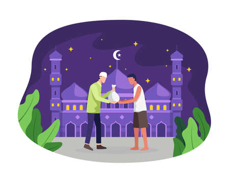 Man giving alms or zakat in the holy month of Ramadan. Muslim giving donation to a poor homeless man, Pay zakat, Sharing and caring concept. Vector illustration flat style Ilustração