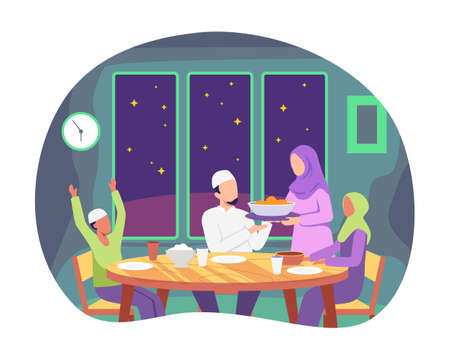 Moslem family preparing iftar meal, Praying before having iftar. Enjoying ramadan together in happiness during fasting. Vector illustartion in a flat style