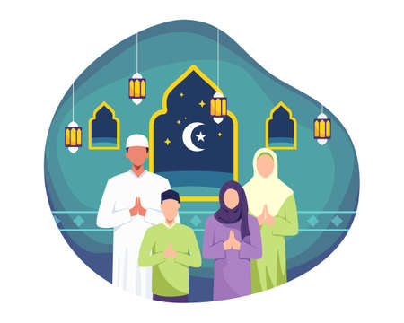 Happy family greeting and celebrating Eid mubarak. Man and his wife doing greeting, Muslim people wishing and greeting Eid al-fitr. Vector in a flat style
