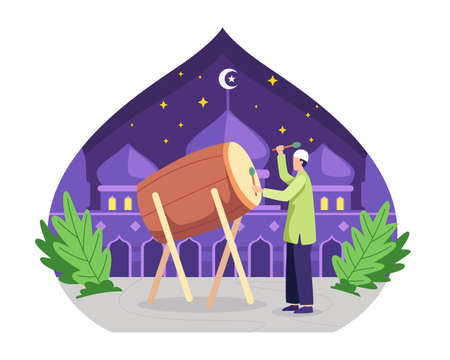 Happy muslim hitting drum and celebrating Eid Mubarak. Ramadan kareem celebration, Happy fasting and iftar party. Vector illustration in a flat style