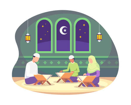 Muslim people reading Quran during Ramadan kareem holy month. Reading and studying the Quran, Practice during Ramadan. Vector illustration in a flat style Ilustração