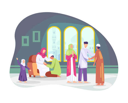 Muslim people celebrating Eid al-fitr, Shaking hands wishing each other. Families gather together, Muslim man kissing her mother hand, Tradition of Eid al-Fitr. Vector in flat style