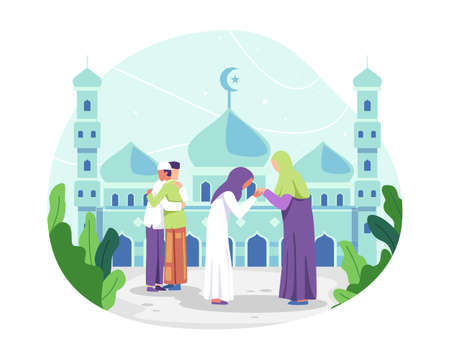 Muslim people celebrating Eid al-fitr, Muslim man hugging and wishing each other. Muslim woman kissing her mother hand, Tradition of Eid al-Fitr. Vector in a flat style