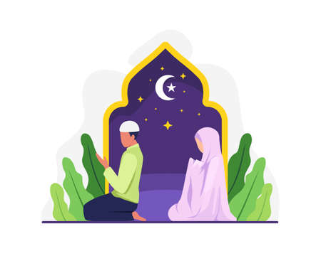 Muslim people tarawih prayer in congregation. Muslim Perform taraweeh prayer night during ramadan. Prayers in congregation at home. Vector in flat style