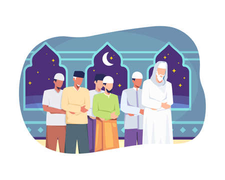 Muslim people perform taraweeh prayer night during ramadan. Prayers in congregation at the mosque, Happy fasting, Ramadan kareem. Vector illustration flat style