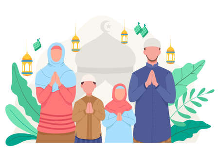Happy family greeting and celebrating Eid Mubarak. Muslim people wishing and greeting Eid al-fitr. Vector illustration in a flat style Ilustração