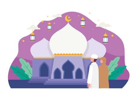 Muslim people going to mosque for prayer. Muslim family going to mosque during Ramadan to pray. Vector illustration in a flat style