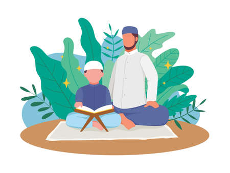 Muslim father teach his son reading Quran. Muslim people reading Quran during Ramadan kareem holy month, Reading and studying the Al-Quran. Vector illustration in a flat style Ilustração