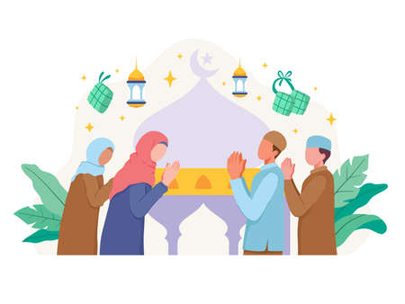 Muslim people greeting and celebrating Eid Al fitr. Men and women greet each other and celebrate Eid Mubarak. Vector illustration in a flat style