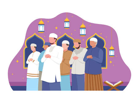 Muslim people perform taraweeh prayer night during Ramadan. Prayers in congregation at the mosque. Vector illustration in a flat style