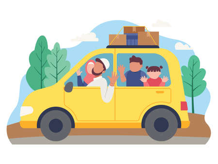 Muslim family goes on holiday using a car. Family goes to home village to celebrate Eid Mubarak. Vector illustration in a flat style